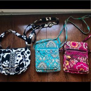 Lot of 3 Vera Bradley cross body purses